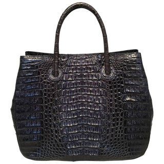 Byron Navy Blue Hornback Crocodile Leather Tote For Sale