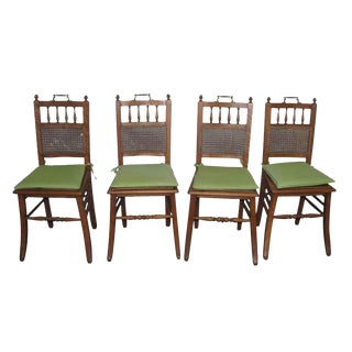 Primitive Wooden With Ornate Hardware Dining Chairs - Set of 4 For Sale