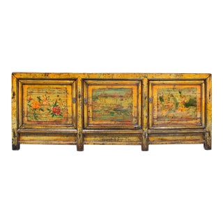 Chinese Distressed Yellow Orange Flower Scenery Sideboard Cabinet For Sale