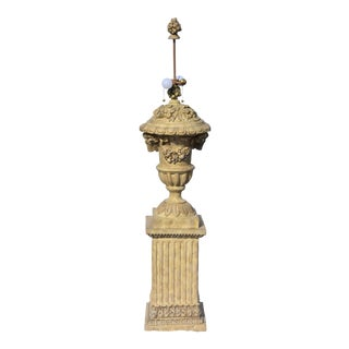 French Regency Showpiece Tall Ornate Faux Stone Urn on Pedestal Lamp For Sale