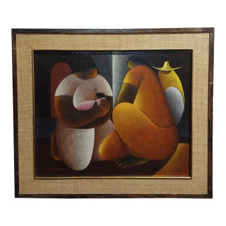 Victor Manuel Cancino -Family With Child-Mexican Cubist-Oil Painting For Sale