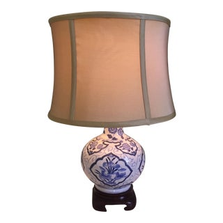 Blue & White Chinoiserie Table Lamp For Sale