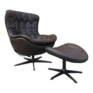 Bramin 1970s Brown Leather Swivel Pod Chair & Ottoman For Sale