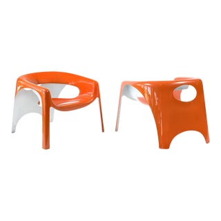 Fibrella Orange and White Fiberglass Lounge Chairs - a Pair For Sale