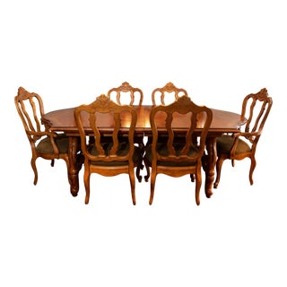 French Country Century Furniture Dining Set - 7 Pieces For Sale