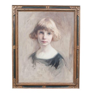 """""""Young Girl"""" Oil Painting on Canvas by Heinrich Hollein, 1922 For Sale"""
