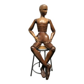 Early 20th Century Vintage Life Sized Artist Mannequin For Sale