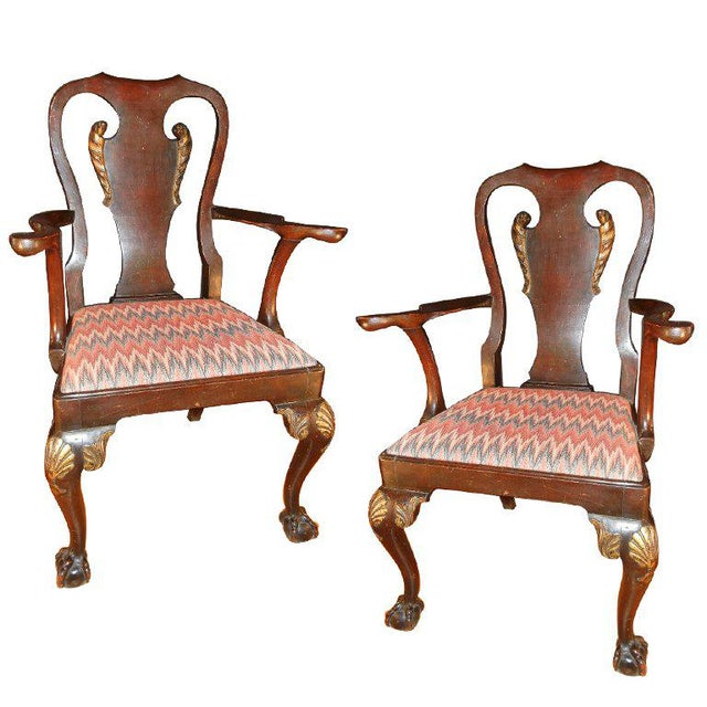 George II-style Hand-Carved and Parcel-Gilt Arm Chairs, England Circa 1810-1830 - A Pair For Sale - Image 10 of 13
