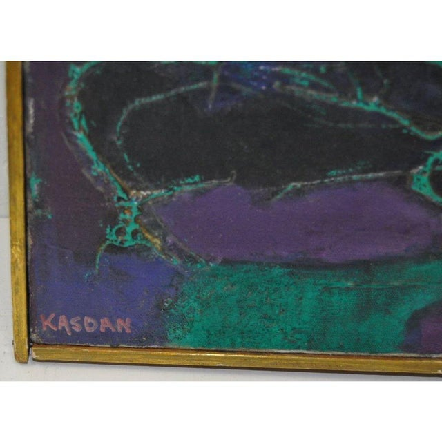 Bold abstract painting by KASDAN Classic Vintage Abstract Oil Painting! Original oil on canvas. Very good vintage...