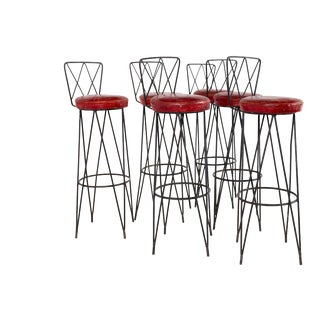 Vintage Mid Century Frederick Weinberg Style Hairpin Wrought Iron Bar Stools - Set of 6 For Sale