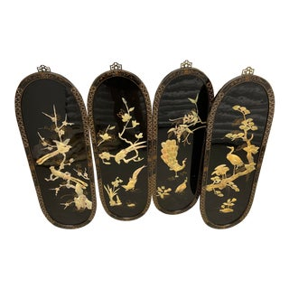 Vintage Chinese Black Lacquer Wall Panels - Set of 4 For Sale