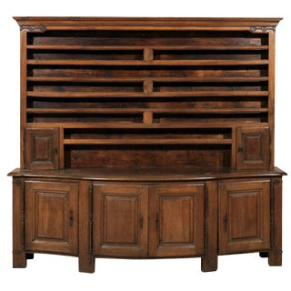 English 19th Century Wooden Vaisselier / Storage Cabinet With Serpentine Front For Sale