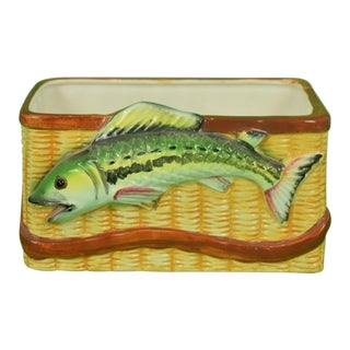 Trout Creel Ceramic Basket For Sale