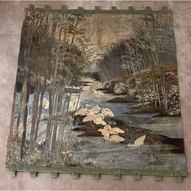 Antique Japanese Scenic Crane Bamboo Silk Hanging Wall Tapestry For Sale - Image 4 of 11