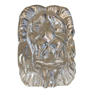Vintage Art Glass Lions Head Paper Weight For Sale