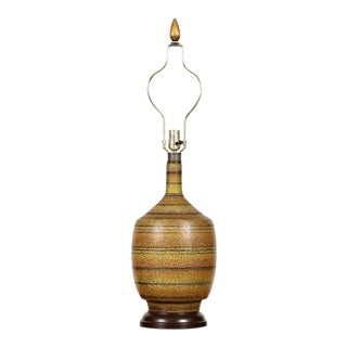 1960s Vintage Striped Glaze Table Lamp For Sale