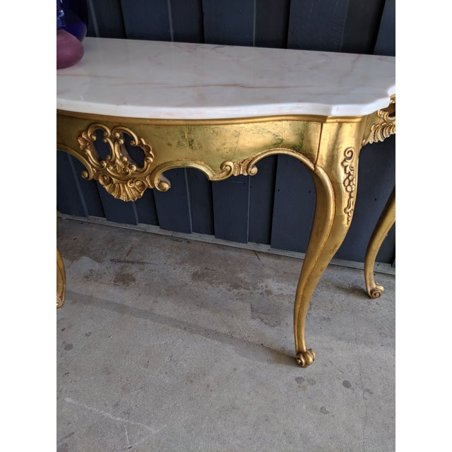1960s Weiman Marble & Gilt Console For Sale - Image 9 of 12