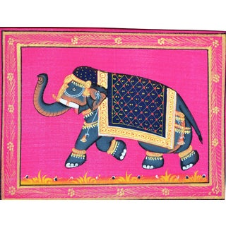 Vintage Mughal Style Indian Elephant Folk Art Painting