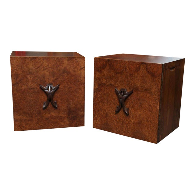 Romweber Mid-Century Modern Night Stands in Exotic Burl Late 1940s - a Pair For Sale