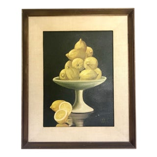Late 20th Century Patti Rock Lemon Bowl Still Life Painting For Sale