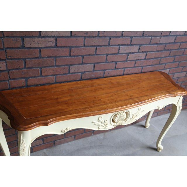 French Country Ethan Allen Legacy Carved Console/Sofa Table For Sale - Image 6 of 7