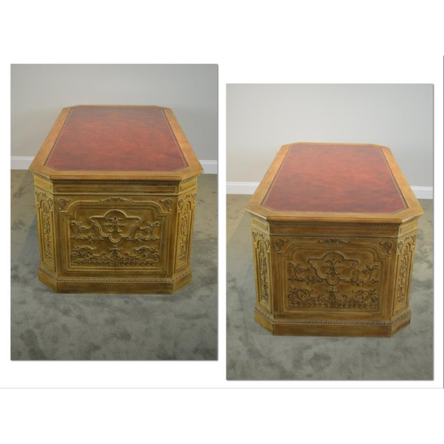 French French Rococo Style Custom Quality Carved Executive Desk For Sale - Image 3 of 12