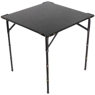 Jacques Adnet 1950s Folding Game Table Hand-Stitched Black Leather For Sale