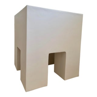 Swedish Modern Smooth Plaster Modern Chunky Night Stand For Sale