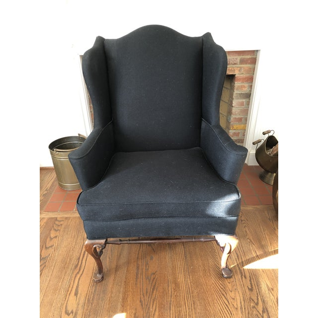 Fabric 1930s Vintage Reupholstered Wing Chair For Sale - Image 7 of 7