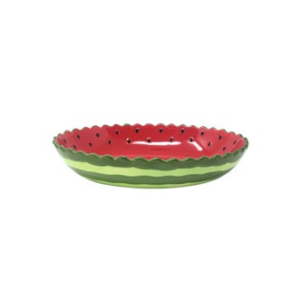 "12"" Hand-Painted Ceramic Watermelon Bowl For Sale"