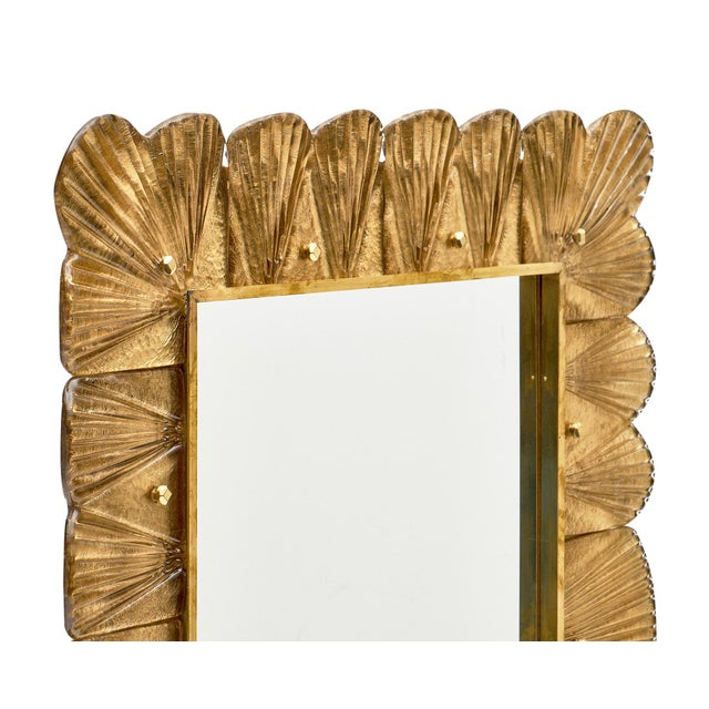 Murano Glass Gold Leaf Mirror For Sale - Image 4 of 11