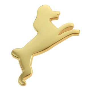 Right Facing Poodle Knob - Satin Brass For Sale