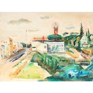 """Minnesota"" 1955 Lush Green Watercolor Landscape For Sale"