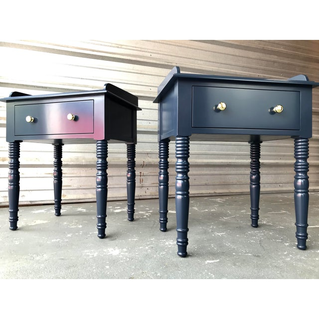 C F Kent Furniture High Gloss Blue Nightstands / End Tables - a Pair For Sale - Image 11 of 11
