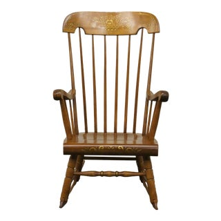 Late 20th Century Vintage Tell City Maple Hitchcock Stenciled Boston Rocker Chair For Sale