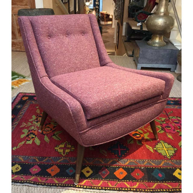 Mid-Century Modern 1950's Pink Modernist Lounge Chairs - A Pair For Sale - Image 3 of 6