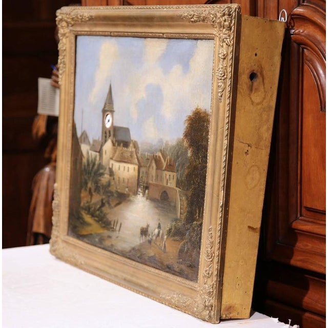 """This beautiful and unusual antique """"clock painting"""" was created in France circa 1780. The piece features a European..."""