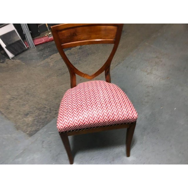 Wood A Set of 6 Biedermeier Mahogany Upholstered Shield Back Dining Chairs With a Brass Inlay For Sale - Image 7 of 7