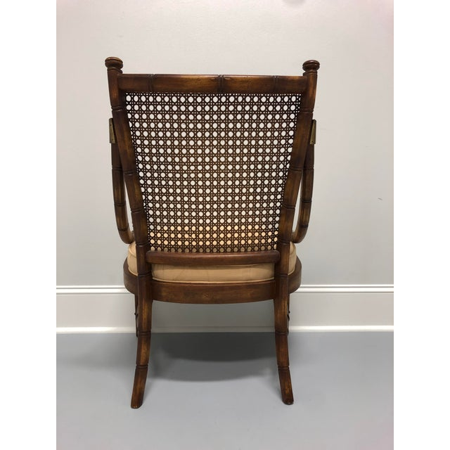 1960s Vintage Mid Century Faux Bamboo Caned Lounge Chair For Sale - Image 5 of 12