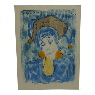 "1970s Original Francois ""Looking Blue"" Mixed Media French Painting on Paper For Sale"