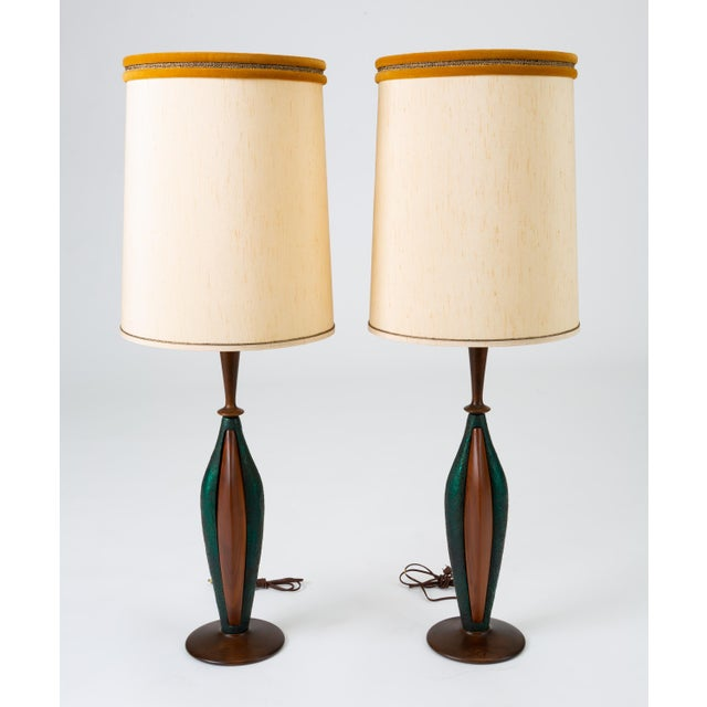 Tall Table Lamps in Walnut and Resin by Moderna - a Pair For Sale - Image 13 of 13