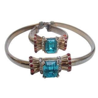 Art Deco 1940s Aquamarine Crystal Necklace & Bracelet For Sale