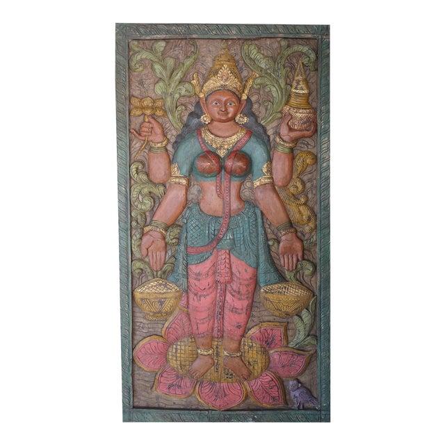 Vintage Carved Lakshmi Hindu Goddess of Wealth Barn Door Colorful Wall Panel Relief For Sale