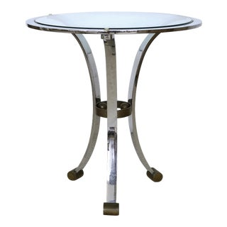 Maison Jansen Attributed Gueridon Table in Stainless Steel & Bronze For Sale