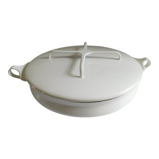 Dansk 1960's French White Enamel Paella Pan W/ Lid For Sale