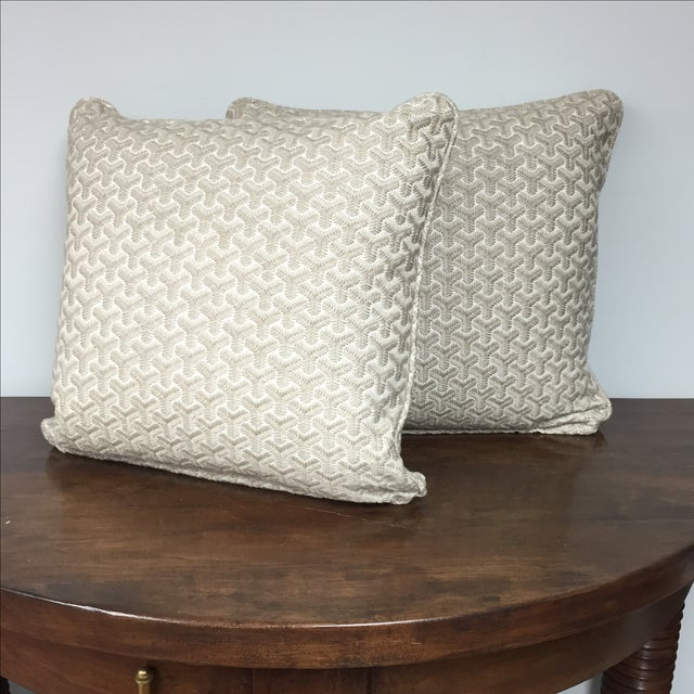 Gray Geometric Embroidered Throw Pillows - A Pair For Sale - Image 5 of 5
