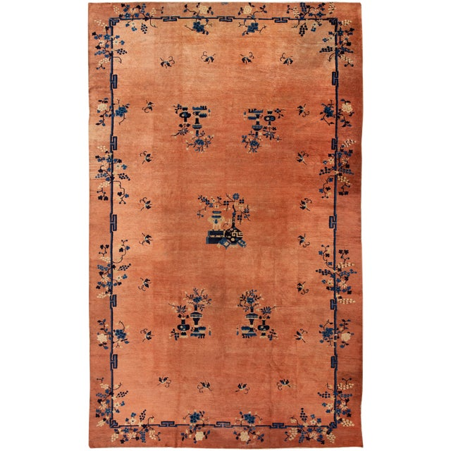 Early 20th Century Antique Art Deco Chinese Wool Rug 9 X 15 For Sale