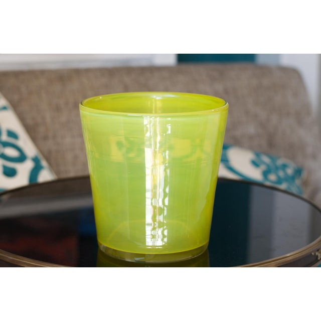 Art Glass Ice Bucket in Citron For Sale - Image 4 of 11