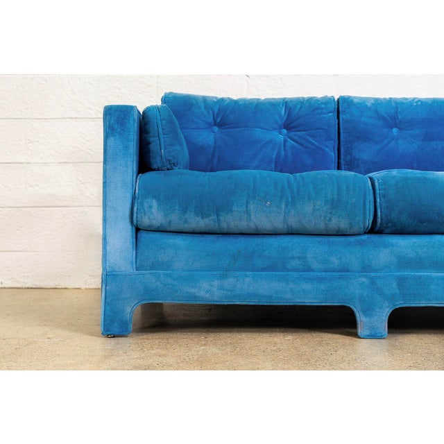 Mid Century Blue Velvet Upholstered Three-Seat Sofa Couch 1970s For Sale - Image 9 of 11