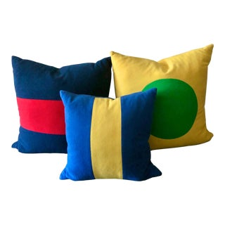 Lisa Perry Primary Color Down Filled Pillows - Set of 3 For Sale